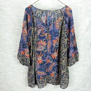 Chaps Sheer Paisley Tunic Plus Size 1X Fall Colors